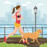 Woman Running with Her Dog. Woman Running vector illustration. EPS10 Format Royalty Free Stock Images