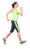 Woman Running with Water Bottle Isolated on White Background Stock Photo