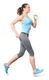 Woman Running with Water Bottle on White Background Stock Photos
