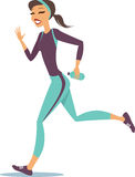 Woman running on white background Stock Photography