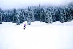 Woman running in winter, fitness inspiration and motivation Royalty Free Stock Image
