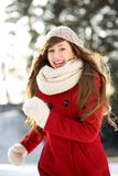 Woman running in winter scene Royalty Free Stock Photo