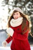 Woman running in winter scene Royalty Free Stock Photo