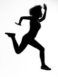 Woman runnner running in silhouette Stock Image