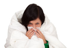 Woman with a runny nose Royalty Free Stock Images