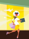 Woman runs from airport shop. The beautiful girl runs from airport shop - delay. One of cartoon series fashion illustrations royalty free illustration