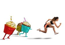 Woman runs away from sweets Stock Images