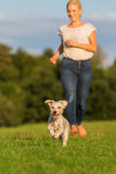 Woman runs with her terrier hybrid dog outdoors Royalty Free Stock Photography