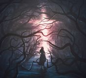 Woman in scary forest. A woman runs through a scary forest towards a glowing cross royalty free illustration