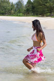Woman runs to sea Royalty Free Stock Photography