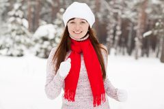 Woman runs at winter park Stock Images