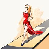 Woman on the runway Stock Images