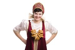 Woman in Russian costume with bread-ring Royalty Free Stock Photo