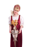 Woman in Russian costume with bread-ring Stock Image