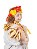 Woman in Russian folk clothes Stock Photos