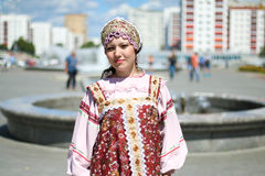 Woman in Russian folk costume stock photo