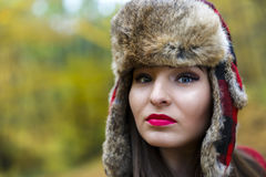 Woman with a Russian hat Royalty Free Stock Photo