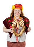Woman in Russian traditional clothes Stock Images