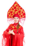 Woman in russian traditional clothes. Stock Photo