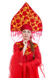 Woman in russian traditional clothes. Royalty Free Stock Images