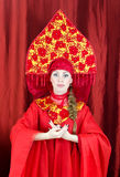 Woman in russian traditional clothes Stock Image