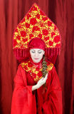 Woman in russian traditional clothes Royalty Free Stock Photos