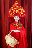 Woman in russian traditional clothes Royalty Free Stock Photography
