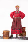 Woman In Russian Traditional Clothing Stock Photo