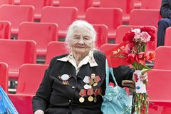 Woman is Russian veteran on celebration at the parade annual Vic. SAMARA, RUSSIA - MAY 9, 2017: Woman is Russian veteran on celebration at the parade annual royalty free stock photos