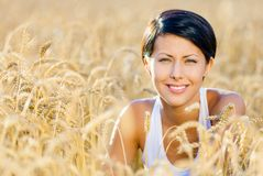 Woman in rye field Royalty Free Stock Photos