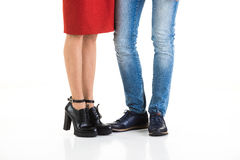Woman& x27; s和Man& x27; s腿 免版税库存照片