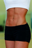 Woman's abdomen. Woman's sporty abdomen with muscles Royalty Free Stock Photo