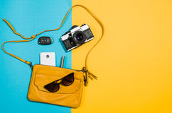 Woman`s accessories flat lay on colorful background top view Royalty Free Stock Photo