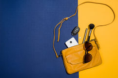 Woman`s accessories flat lay on colorful background top view Stock Image