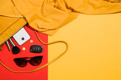 Woman`s accessories flat lay on colorful background top view Royalty Free Stock Photography