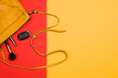 Woman`s accessories flat lay on colorful background top view Royalty Free Stock Images