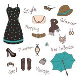 Woman` s accessories. Vector illustartion of woman` s  accessories such as jewelry, bag Royalty Free Stock Photos