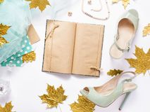 Woman`s accessories on white table, top view, flat lay. royalty free stock photos