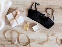Woman`s accessories on a wooden background Royalty Free Stock Photos