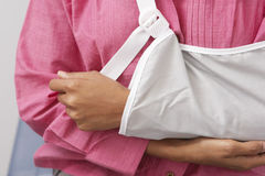 Woman's Arm In Sling. Extreme closeup of a woman's arm in sling stock photography