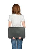 Woman's back holding black board Royalty Free Stock Photography
