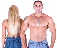 Woman's back and man's front Royalty Free Stock Images
