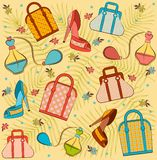 Woman's bag, perfume and shoes. Royalty Free Stock Images