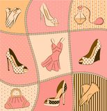 Woman's bag, perfume and shoes stock illustration