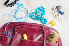 Woman`s bag and it`s content Stock Photography