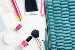 Woman`s bag and it`s content Royalty Free Stock Image