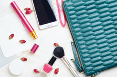 Woman`s bag and it`s content Royalty Free Stock Photos
