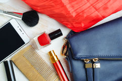 Woman`s bag and it`s content Stock Image