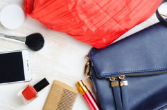 Woman`s bag and it`s content Stock Photos