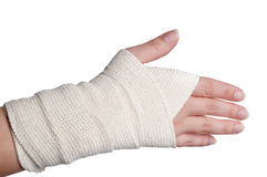 A woman's bandaged hand Royalty Free Stock Photography
